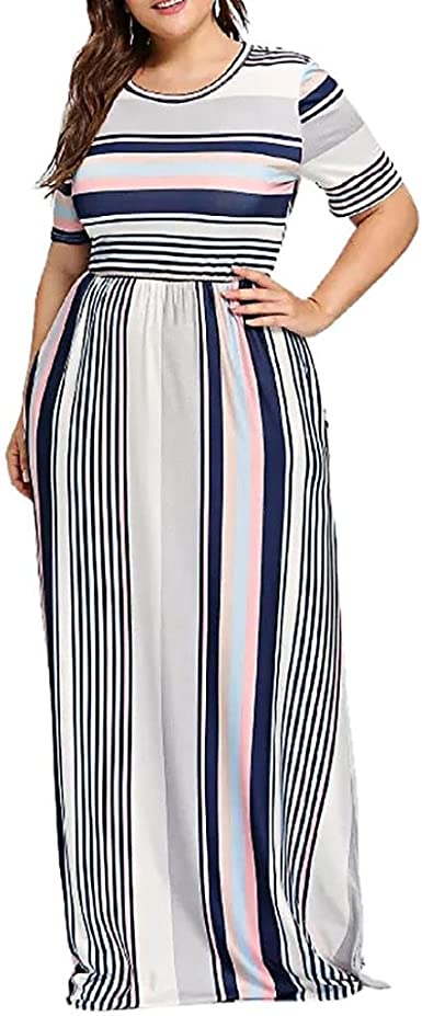 Womens Casual Maxi Dress,Short Sleeve Striped Patchwork Crewneck Long Dresses with Pocket,Fashion Style for Ladies