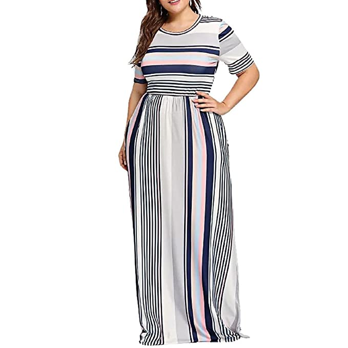 TOPUNDER Striped Long Maxi Dress for Women Plus Size Short Sleeve Dresses  Crewneck Church