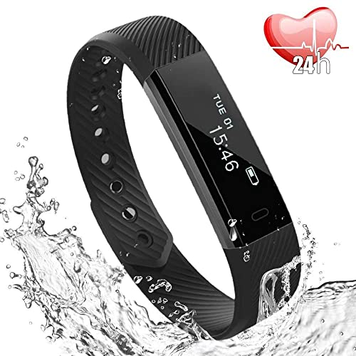 Fitness Tracker, Fitness Watch with Slim Touch Screen and Wristbands, Heart Rate Monitor, IP67 Wearable Activity Tracker as Pedometer Sleep Monitor for Android and iOS -Black