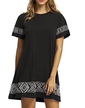 30740dfd1c14 Floerns Women s Casual Embroidered Short Sleeve Swing Tunic T Shirt Dress  Black S