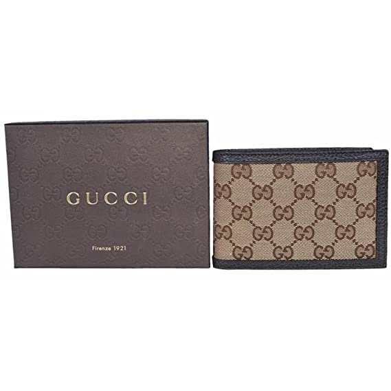 a69330f54cb Gucci Original GG Canvas Leather Men s Bifold Wallet 260987 9903 Brown Beige   Amazon.ca  Luggage   Bags