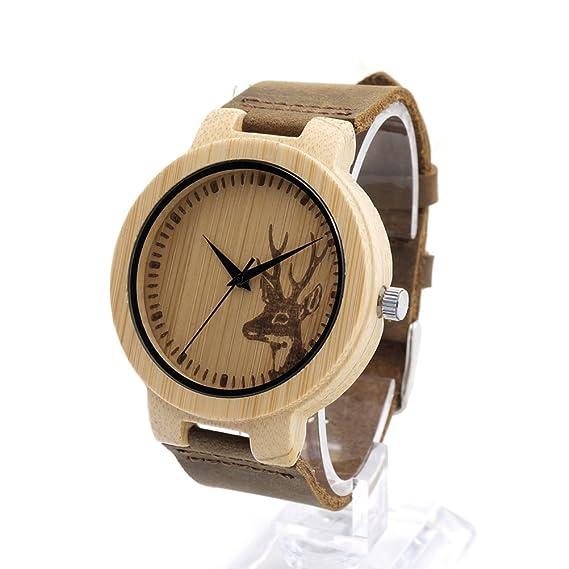 Bobobird 100% de bambú natural de madera del reloj con correa de cuero marrón genuino Movimiento de cuarzo japonés Casual Unisex: Amazon.es: Relojes