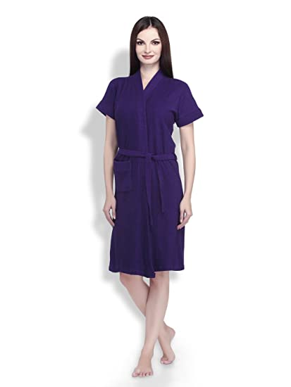 Buy Sand Dune - Womens 100% Terry Cotton Bathrobe Gown - Short Sleeve Knee  Length with Pocket   Waist Belt - Dark Purple Color - Size XL (Extra Large)  ... 039c22269
