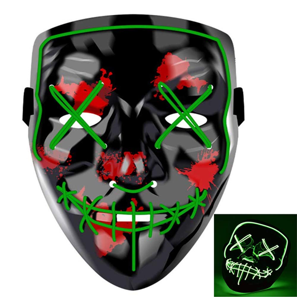 Charlemain LED Maske mit 3 Blitzmodi, Halloween Maske für Erwachsene, Teenager, harmlos, blinkende Maske für Halloween, Karneval, Party, Kostüm Cosplay, Dekoration