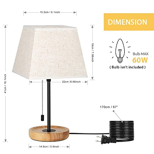 HAITRAL Modern Table Lamps – Minimalist Bedside Lamps Set of 2, Nightstand Desk Lamp with Convenient Pull Chain and Wood Base for Bedroom, Living Room, Guest Room, Office HT-ATH80-29X2