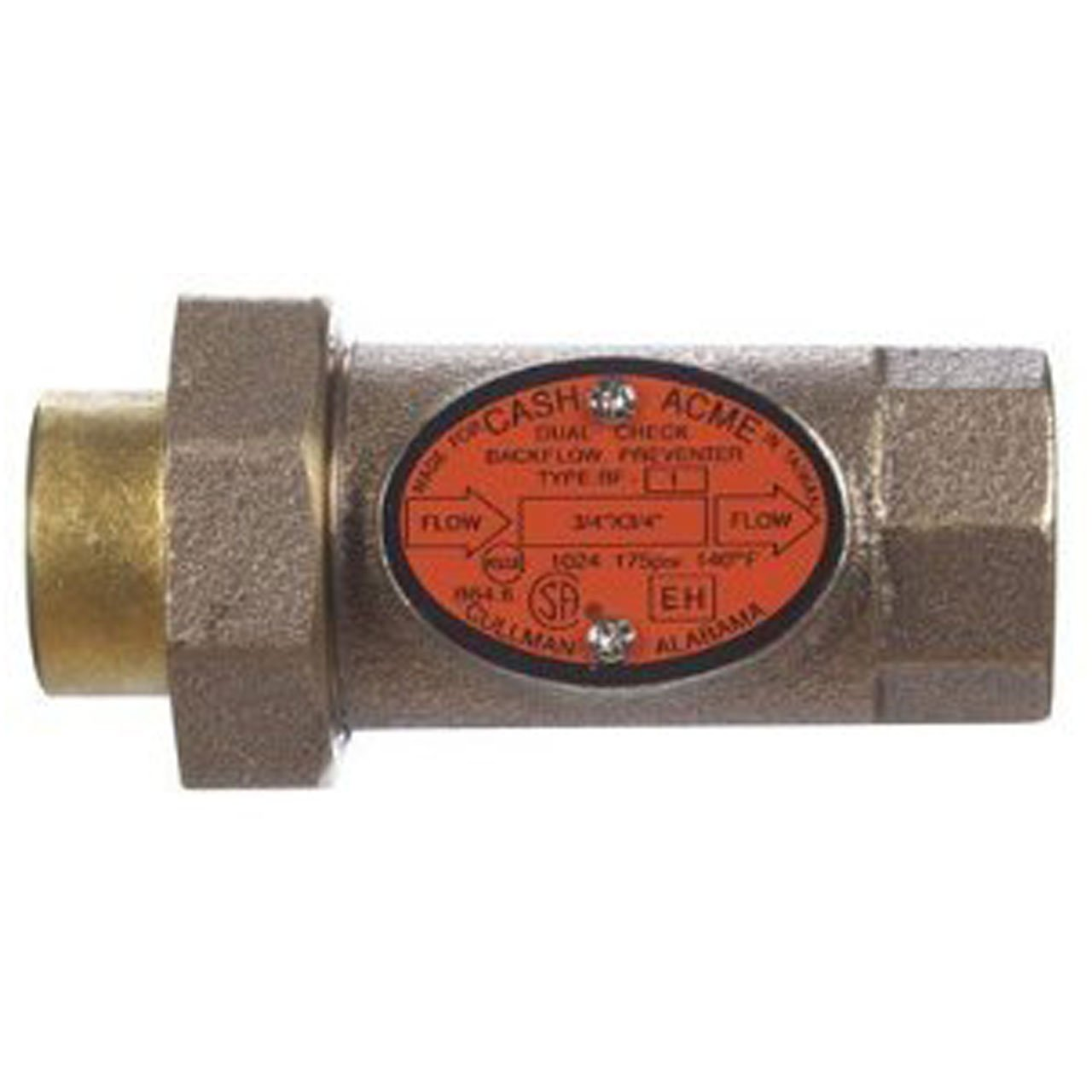 Cash Acme 17217-0000LF BF1 3/4-Inch Dual Check Backflow Preventer with Threaded Union Inlet, Lead Free