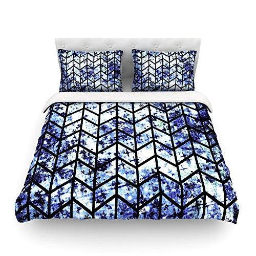 88 x 88 Kess InHouse EBI Emporium Chevron Wonderland II Blue Black Cotton Queen Duvet Cover