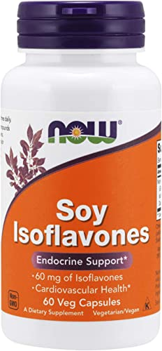 NOW Supplements, Soy Isoflavones 60 mg Plant Compounds Particularly Concentrated in Soybeans, like Genistein, Daidzein and Glycitein , 60 Veg Capsules