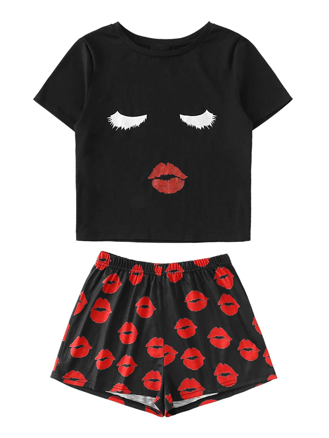 WDIRARA Women's Sleepwear Face Print Top and Red Lip Shorts Pajama Set Black XS
