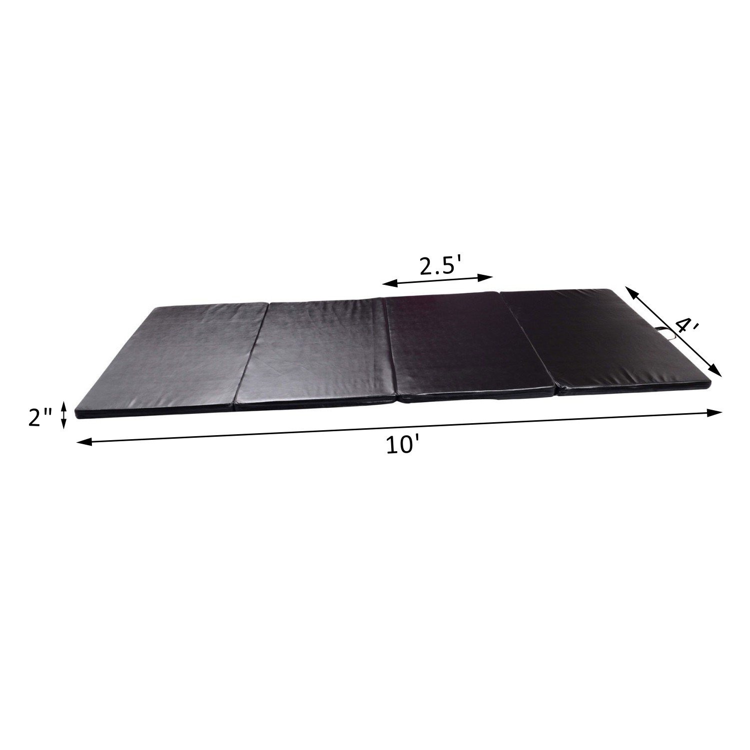 Black Folding Panel Gymnastics Mat 4' x 10' x 2'' Gym Fitness Exercise Stretching Yoga Tumbling With Ebook by MRT SUPPLY