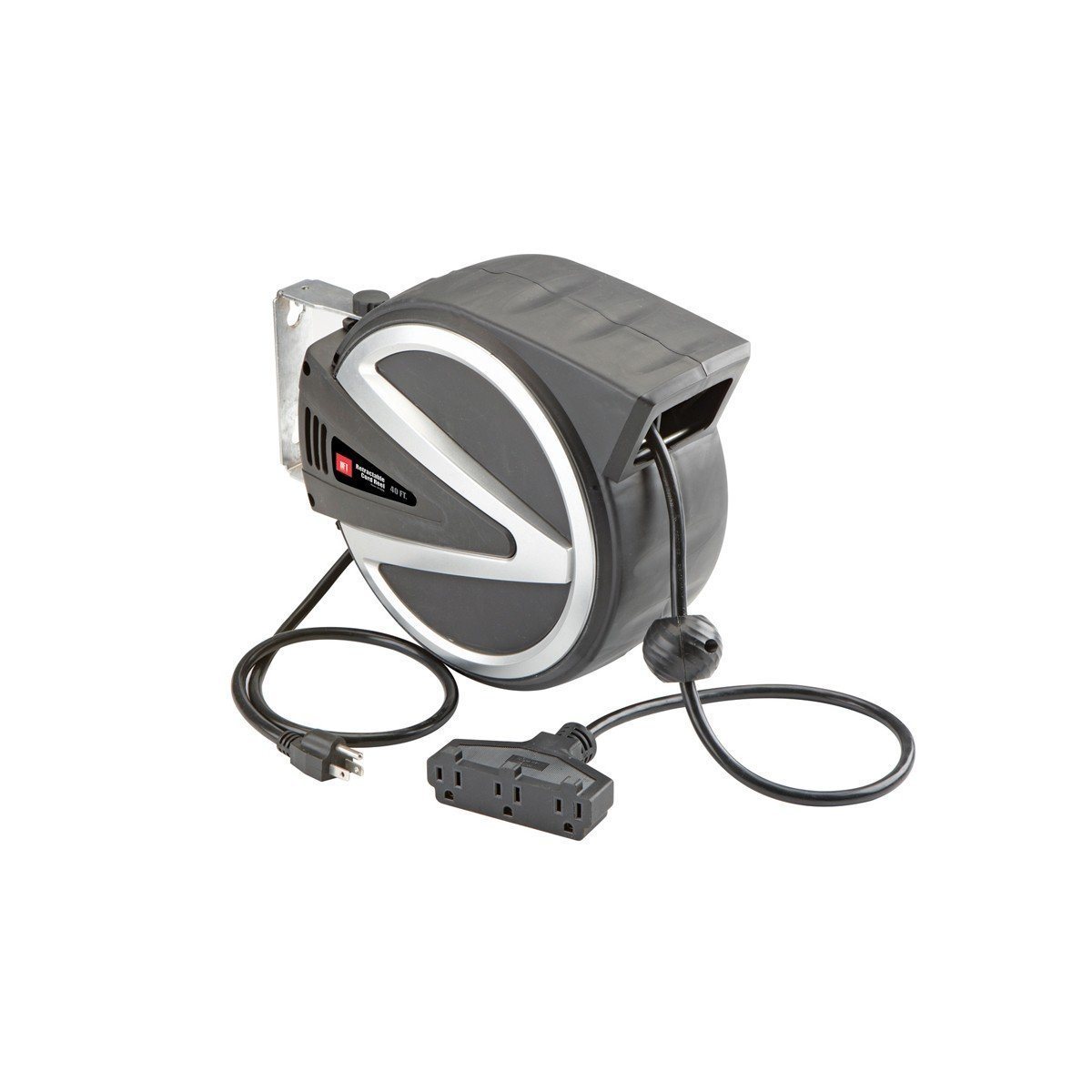 40 Ft. Retractable Cord Reel with Triple Tap Wall Mountable; Spring-loaded automatic rewind