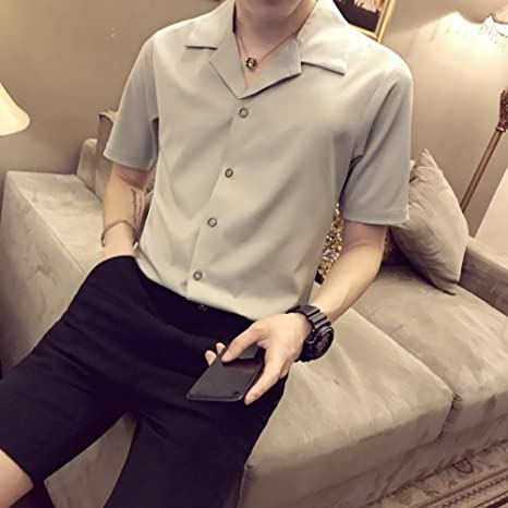 MKDLJY Camisetas Traje de Hombre Camisa de Manga Corta Color ...