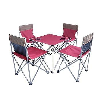 ZZHF Mesas y sillas Plegables Set de Escritorio portátil para ...
