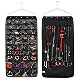 MYF Hanging Jewelry Organizer Accessories Organize Holder 40 Pocket 20 Hook and Loops (Black)
