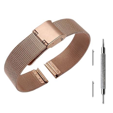 Pinhen - Correa de acero inoxidable para reloj Asus ZenWatch 3/Pebble y otros relojes