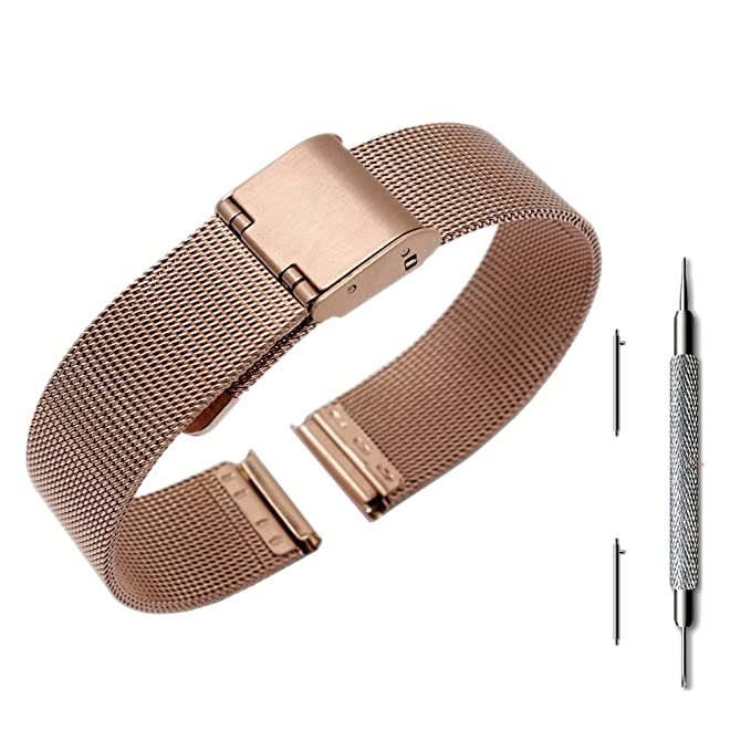 Amazon.com: Pinhen 14mm Quick Release Watchband Mesh Stainless Steel Metal Watch Band Strap Bracelet for ASUS Zenwatch 3 / Pebble Time Round and Other ...