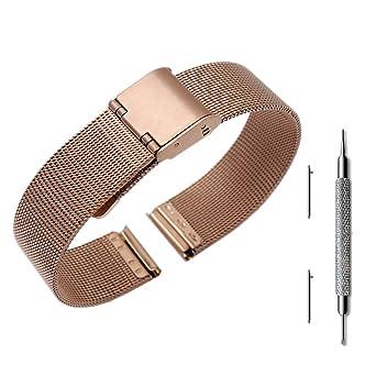 Pinhen 14mm Bracelets Bande de Montre Bracelet Acier Inoxydable Replacement de Bracelet Milanais pour ASUS Zenwatch