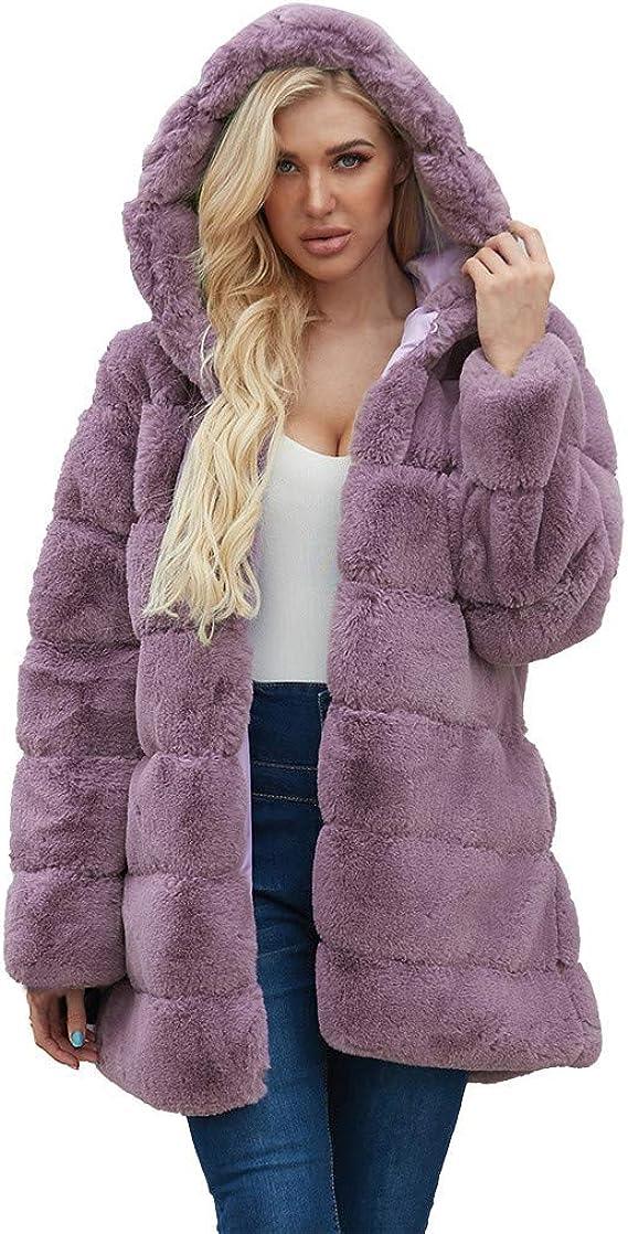Womens Plush Multi-color Faux Fox Fur Jacket Outwear Stitched Coat Loose Parka