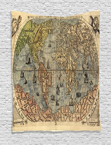 Ambesonne Antique Decor Collection, Ancient Map of World Global History Stained Paper Oceans Lands Atlas Educational Art, Bedroom Living Room Dorm Wall Hanging Tapestry, Ivory Blue - Land Mimi