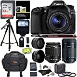 Canon EOS 80D Digital SLR Kit with EF-S 18-55mm f/3.5-5.6 Image Stabilization STM & Canon EF-S 55-250mm Lens + Polaroid .43x Super Wide Angle & 2.2X HD Telephoto Lens + Memory Cards + Accessory Bundle