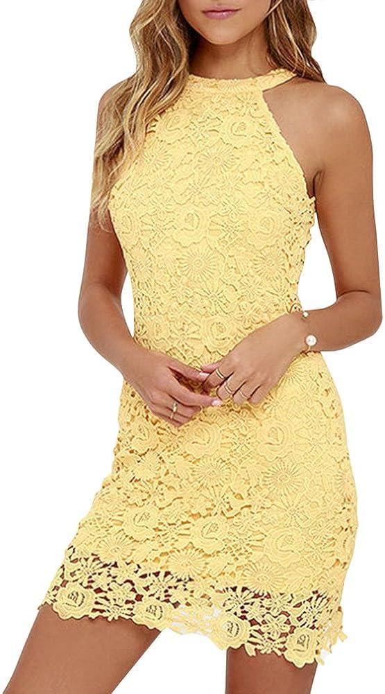 TALLA L (Busto : 90 CM). MISSMAO Mujeres Vestido Encaje Bodycon Corto sin Mangas Casual Slim Falda para Fiesta Mini Vestido Amarillo L (Busto : 90 CM)
