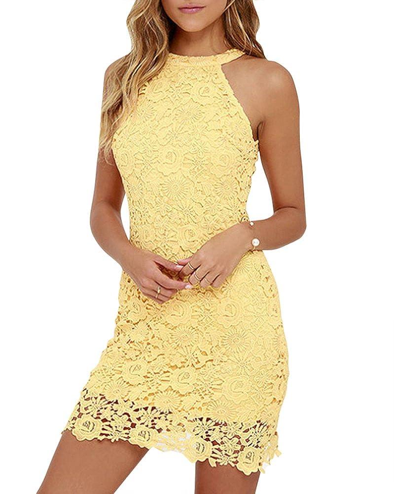 TALLA XL (Busto : 94 CM). MISSMAO Mujeres Vestido Encaje Bodycon Corto sin Mangas Casual Slim Falda para Fiesta Mini Vestido Amarillo XL (Busto : 94 CM)