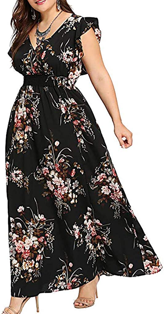 iLUGU Casul Maxi Dress For Women Lace Solid Color Evening Cocktail Gown Long