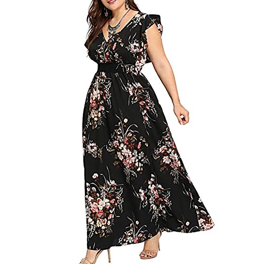 046a71923fc9b iLUGU Women Plus Size Summer V Neck Floral Print Boho Sleeveless Party Maxi  Dress