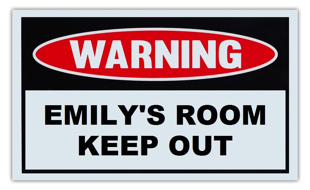 Novelty Warning Sign: Emily's Room Keep Out - For Boys, Girls, Kids, Children - Post on Bedroom Door - 10 x 6 Plastic Sign Crazy Sticker Guy