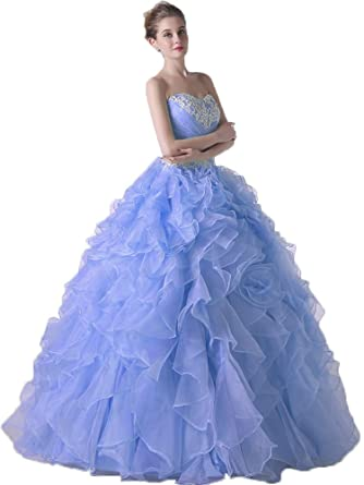 Onlybridal Womens Quinceanera Dresses Ball Gown Ruffle Organza Beaded Vestido DE 15 Anos at Amazon Womens Clothing store: