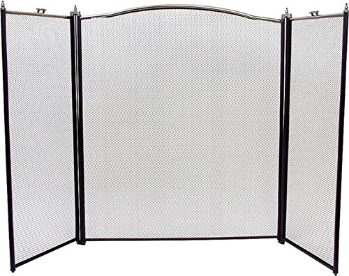"""(Rocky Mountain Goods Fireplace Screen 3 Panel Decorative Design - 30"""" by 52"""" - adjustable width - Black / Silver - Beautiful design for modern & classic homes - Safety doors - Sturdy wrought iron)"""