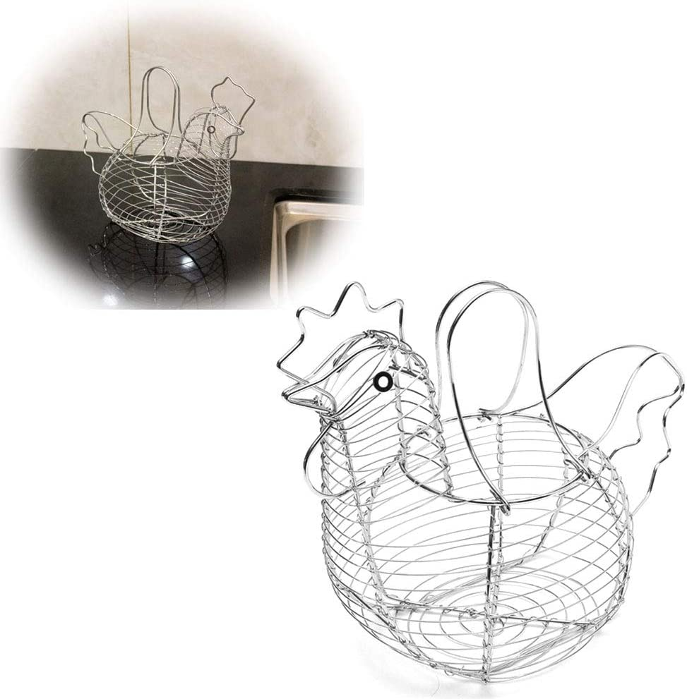 DierCosy Metal Chicken Shaped Egg Holder Wire Fruit Basket Table Top Snacks Organizer Kitchen Gadget
