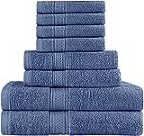 Utopia Premium Cotton Soft & Absorbent 8-Piece Bath Towel Set, Blue Deal