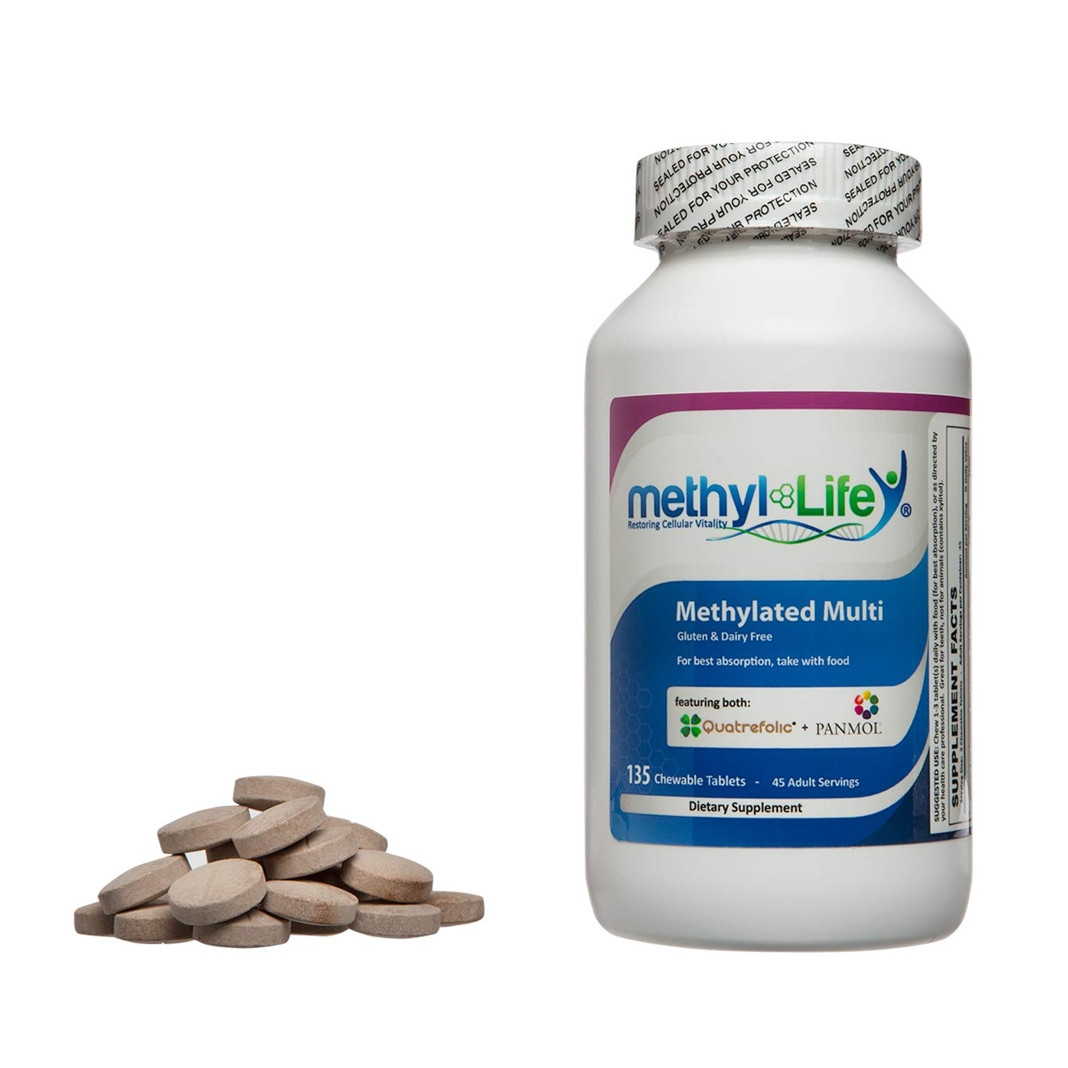 Methyl-Life Methylated Multi-Vitamin for Children and Adults 30 Adult Servings – 120 chew tablets
