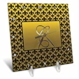 3dRose dc_36081_1 Elegant Letter C Embossed in Gold Frame Over A Black Fleur-De-Lis Pattern on A Gold Background-Desk Clock, 6 by 6-Inch For Sale
