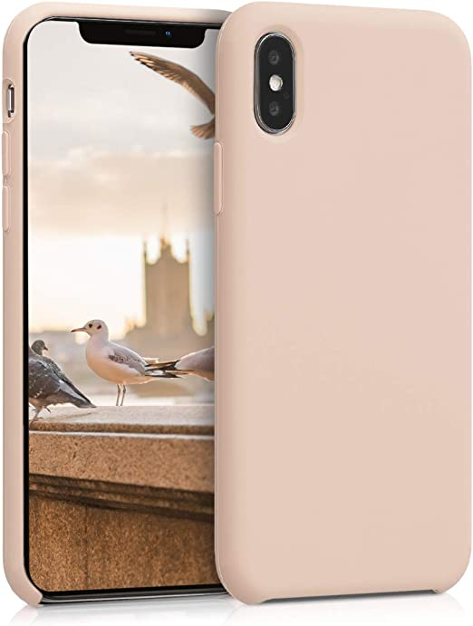 kwmobile TPU Silicone Case for Apple iPhone X - Slim Protective Phone Cover with Soft Finish - Mother of Pearl