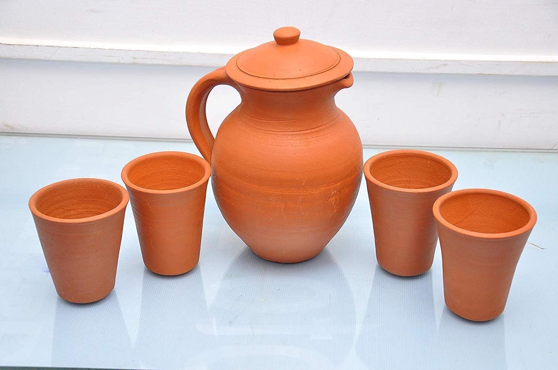 Odishabazaar Clay Mud Terracotta 1 L Water Jug with 150 ml 4 Glass Set (Brown)