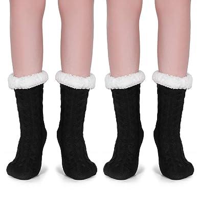 1a0d994f07d Tacobear 2 Paires Chaussettes en Lain Femme Fille Hiver épais Chaussette à  La Maison Chaussons Chaussettes