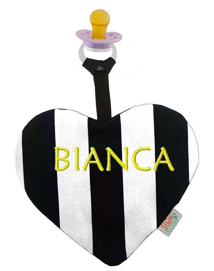Zigozago - Doudou per neonati a forma di cuore a righe bianco e nero con portaciuccio
