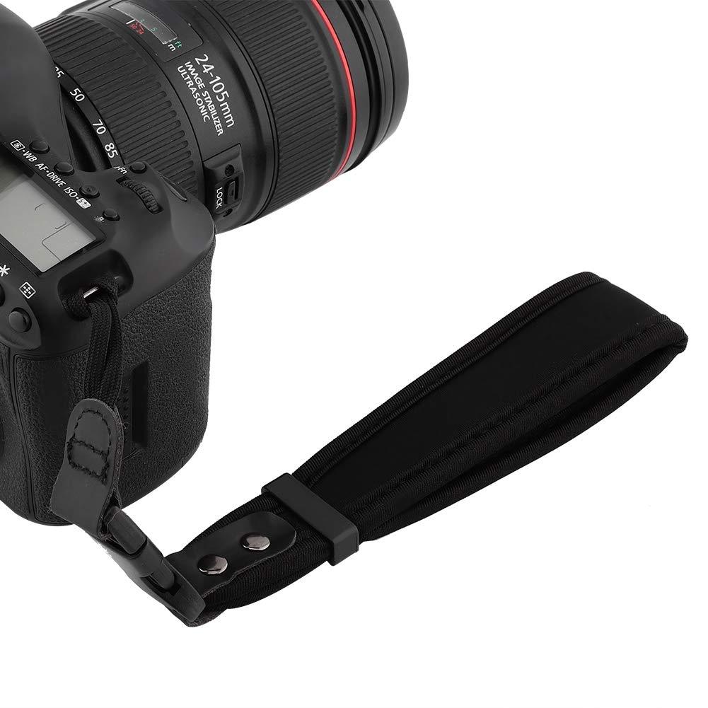 Black Soft Sponge Camera Wrist Band Camera Hand Grip cinturino da polso Strap o DSLR di sicurezza e altre fotocamere digitali impediscono alla fotocamera di cadere