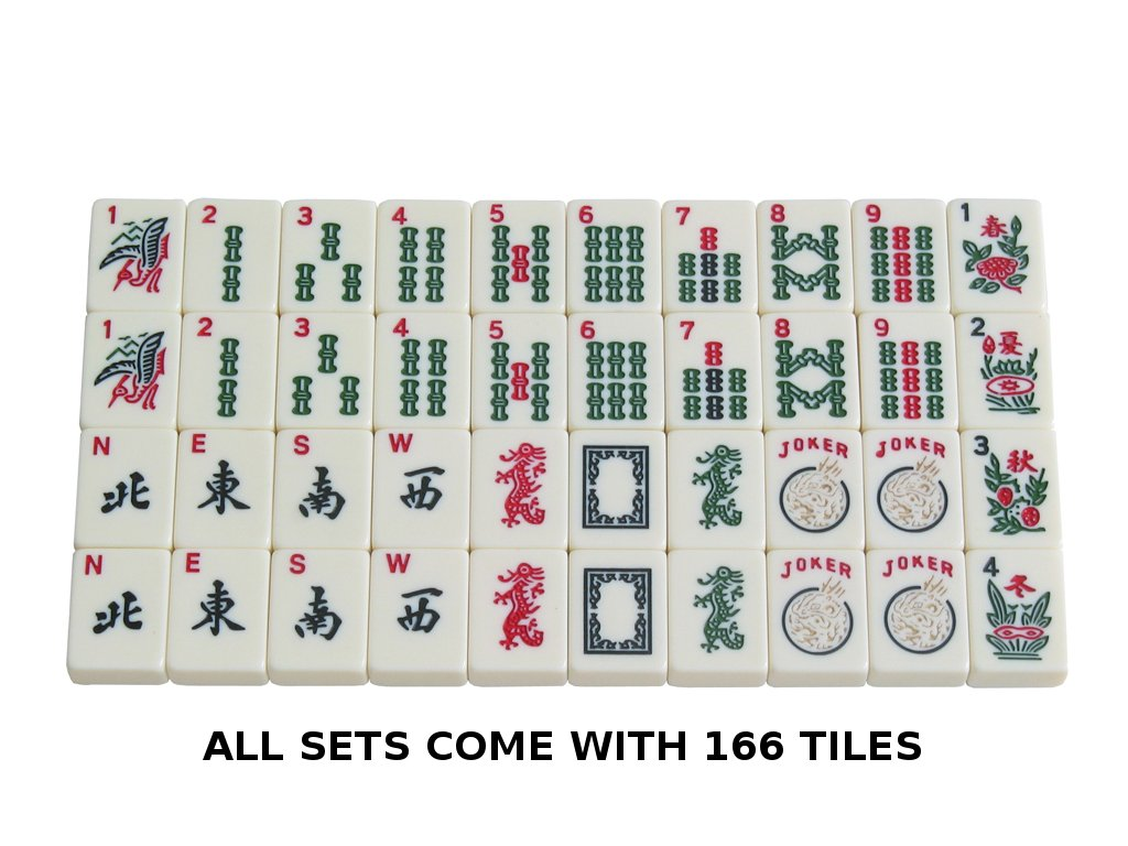American Mah Jongg Set - 166 Premium Ivory Tiles, 4 All-In-One Rack/Pushers, Black Canvas Bag by American-Wholesaler Inc. (Image #3)