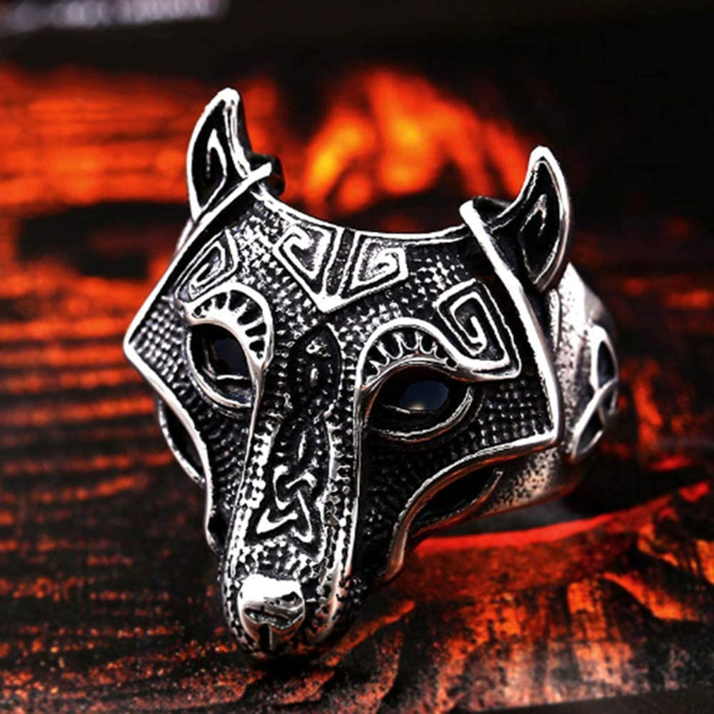 IVERIRMIN Viking Pirate Mythology Alloy Retro Wolf Head Mens Domineering Ring