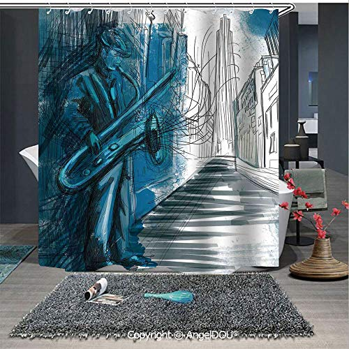 AngelDOU Jazz Music Decor Fashion Styles Printed Shower Curtain Saxophone Man Playing Solo in The Street at Night Vibes Grunge Home Decor for Home Hotel Club Bathroom Decoration