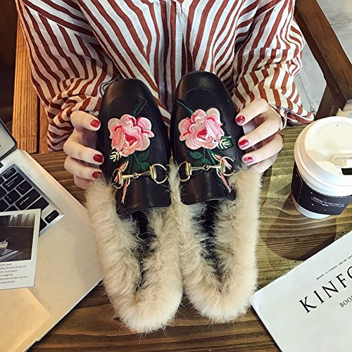Shoes Grandmother Embroidery Plush Flat EUR36 Flowers Pedal Shoes Match Single Female Shoes 5 All a low with qzw8q1r
