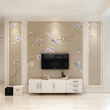 Fondo de TV wall_New Murales chinos de flores y pájaros sala de estar dormitorio estudio TV estilo antiguo papel tapiz mural 3d Sala de estar Dormitorio300cm×210cm: Amazon.es: Bricolaje y herramientas