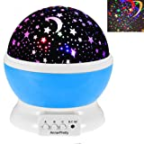 Amazon Price History for:Romantic Moon Star Rotating Projector Decoration Lamp Nightlight for Bedroom Living Room Color Changing Baby Shower Party Birthday Gift for Children Indoor Lighting (Blue)