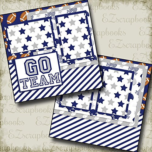 GO TEAM BLUE - FOOTBALL - Premade Scrapbook Pages - EZ Layout 6