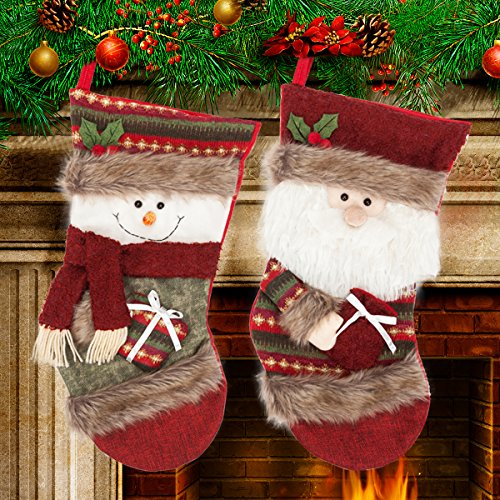 "Reindeer Embroidery Design (Christmas Stocking Set by Yoland 2 Pack 18"" Cross Stitch Needlepoint Knitted Festive Holiday Decoration Snowman and Santa Ornaments)"