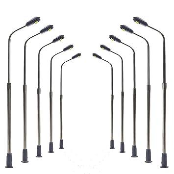 5 Stück Straßenlampen Peitschenlampen mit LEDs für 12-18 V  Höhe 8,3 cm