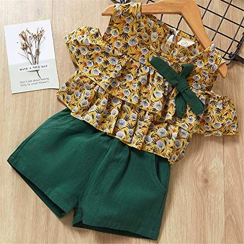 ZHIZHEN 2 Clothes Girls 2019 Summer Cute Flower Sleeves Children's Clothing Suit 7T Green -